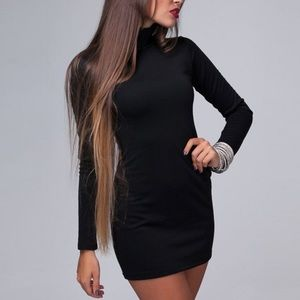 Turtleneck Black Tight Sweater Dress